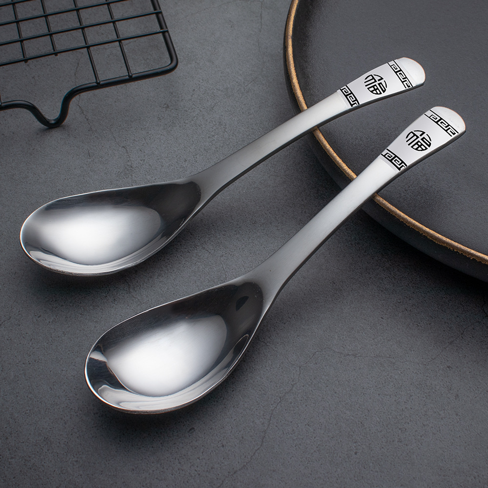 Spiral Pattern Stainless Steel Soup Spoons Tableware for Luxurious Designs