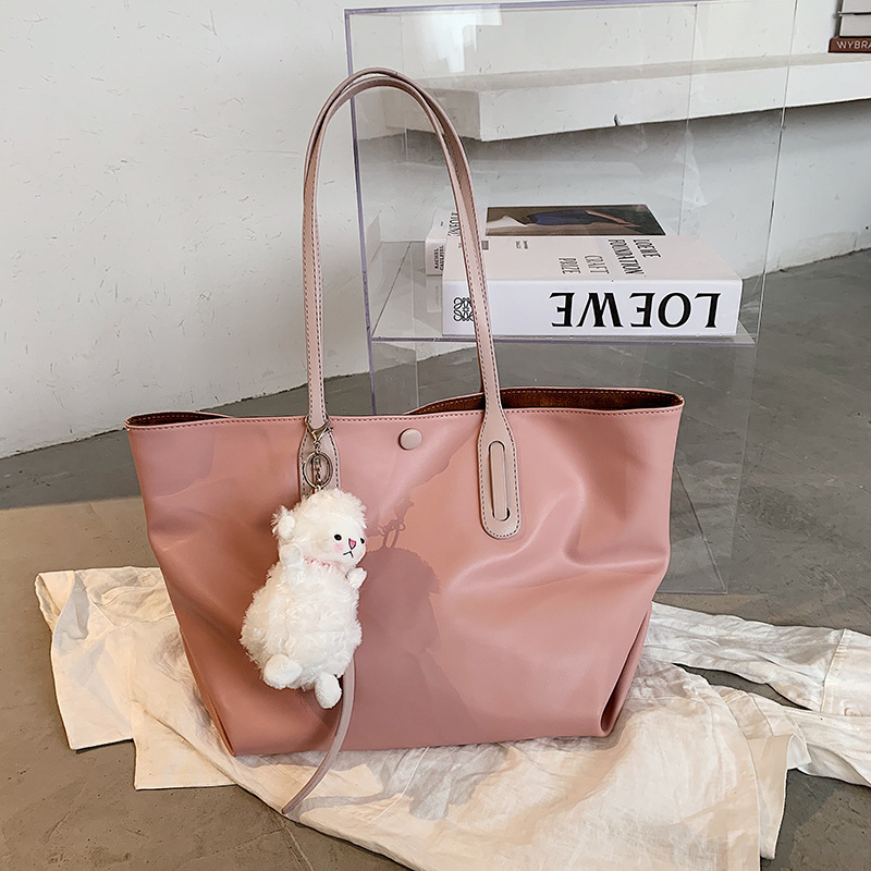 Large-Capacity White and Pink Bag for a Casual Carry-On Luggage
