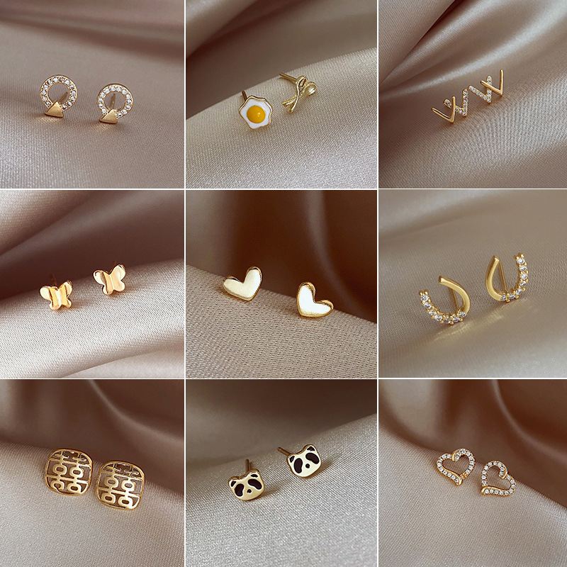 Minimalist and Subtle Assorted Design Alloy Stud Earrings for Ladies