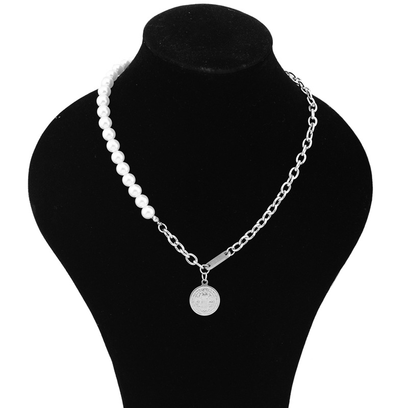 Vintage Coin Faux Pearl and Chain Necklace