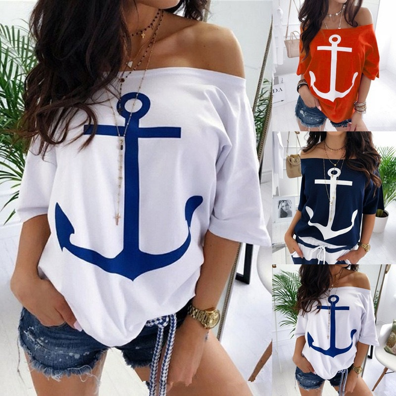 Loose Anchor Printed Off-Shoulder Short-Sleeves T-Shirts for Street Wear
