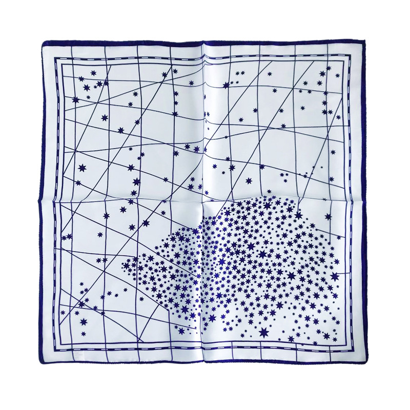 Hollow Tiny Stars-Printed Square Silk Scarf for Handbag Accent