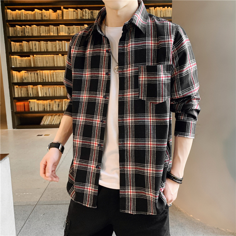Casual Two-Tone Plaid Long Sleeve Shirt for Trendy Outfits