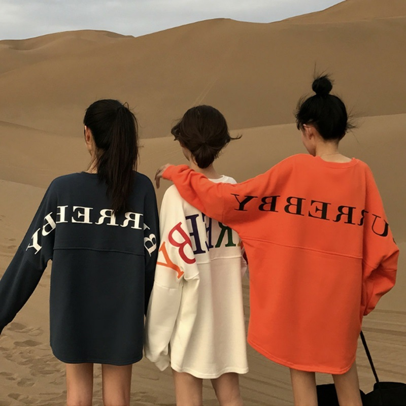 Graphic Oversized Long Sleeves Top for Shopping with Friends