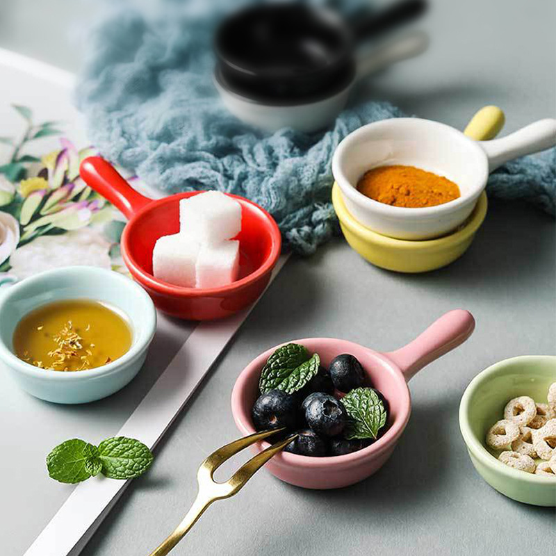 Small Ceramic Dipping Sauce Dish with Handle for Side Dishes