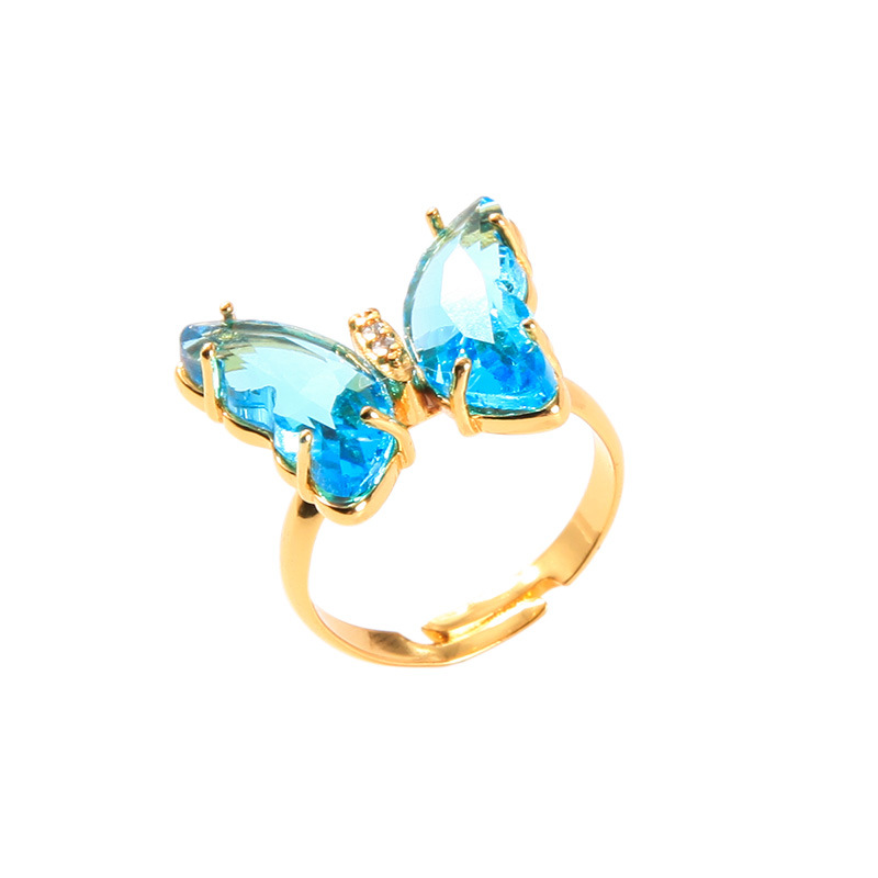 Crystal Butterfly Adjustable Ring
