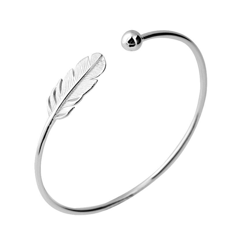 Silver Feather Adjustable Bangle