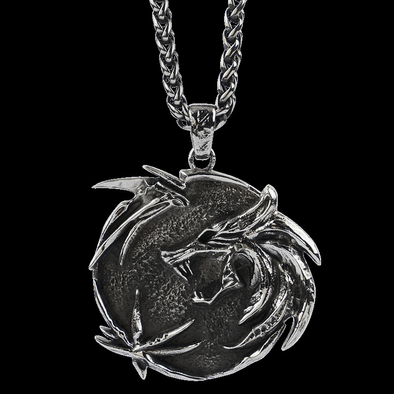 Gothic Titanium Steel Dragon Necklace for Rock and Roll Outfit