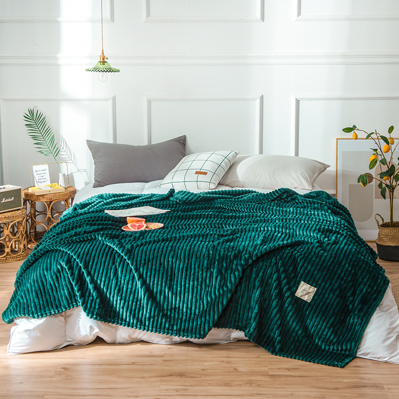 Ribbed Colorful Polyester Fibre Blanket