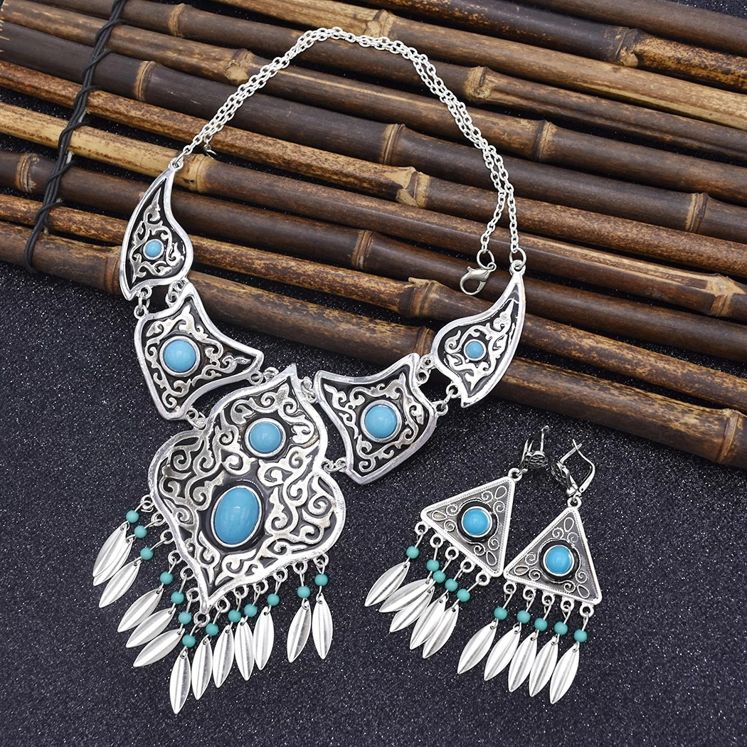 Vintage Tassel Earrings and Necklace Set for Bohemian National Style Events