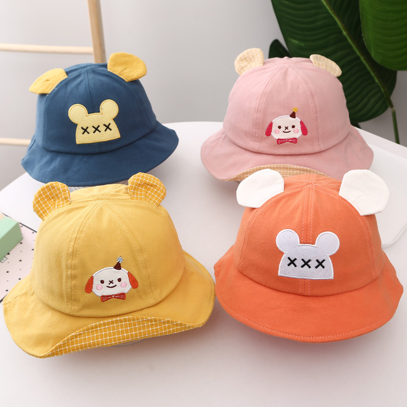Pretty Solid Colored Cap with Bear Ears Design for Kids Play in the Park