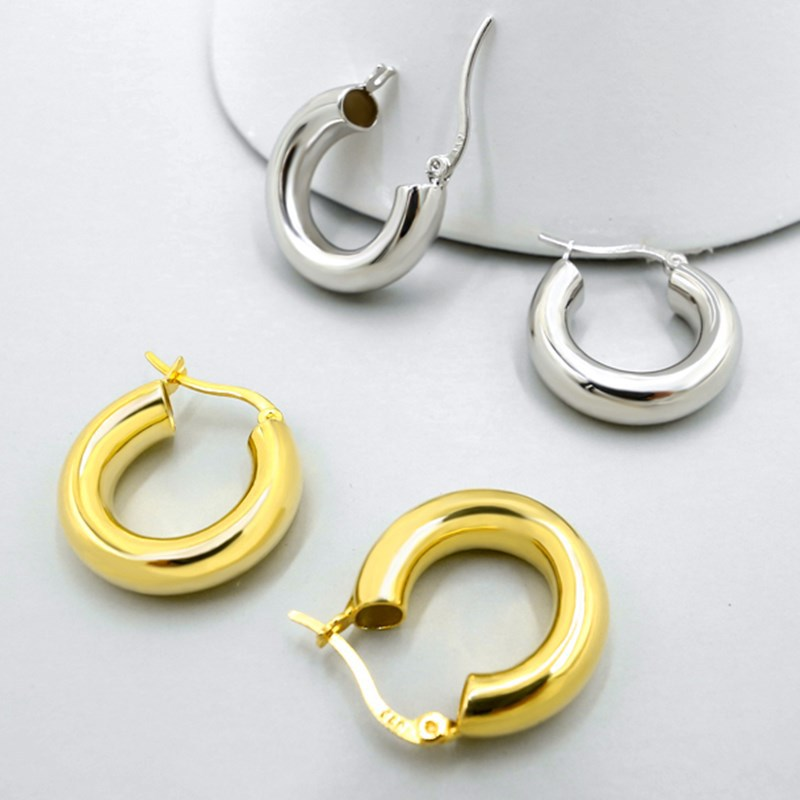 Thick and Sturdy Round Earrings for Women's Daily Use