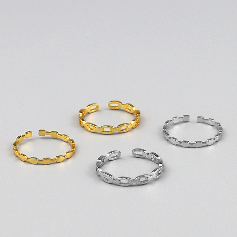Hollow and Solid Chain Open Ring