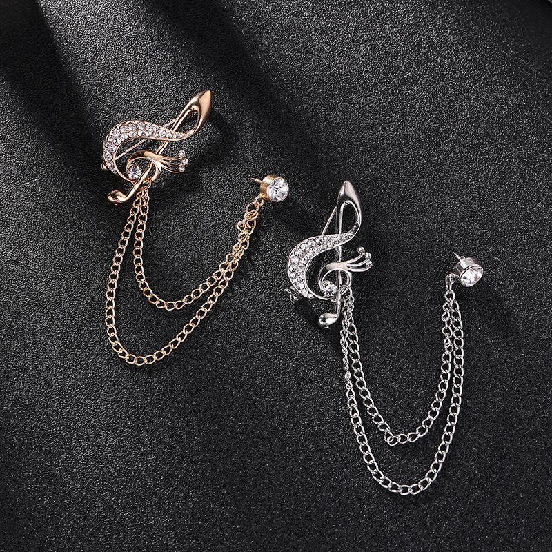 British Style High-End Musical Note Pin for Suits and Cardigans