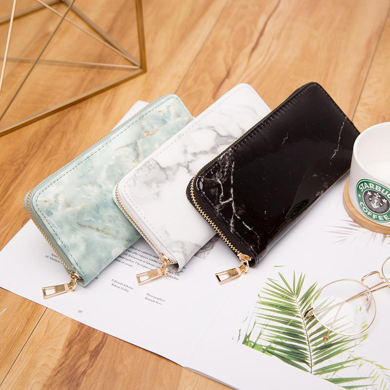 Marble Zip Clutch Wallet