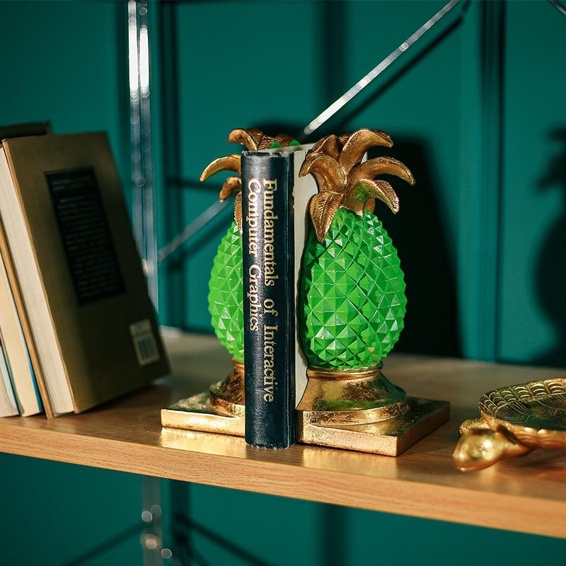 Tropical Pineapple Halves Bookends for Creative Home Interiors