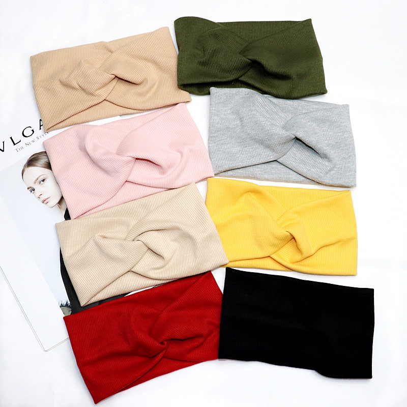Lightweight Ribbed Cotton Wraparound Headband for Everyday Casual Outfits