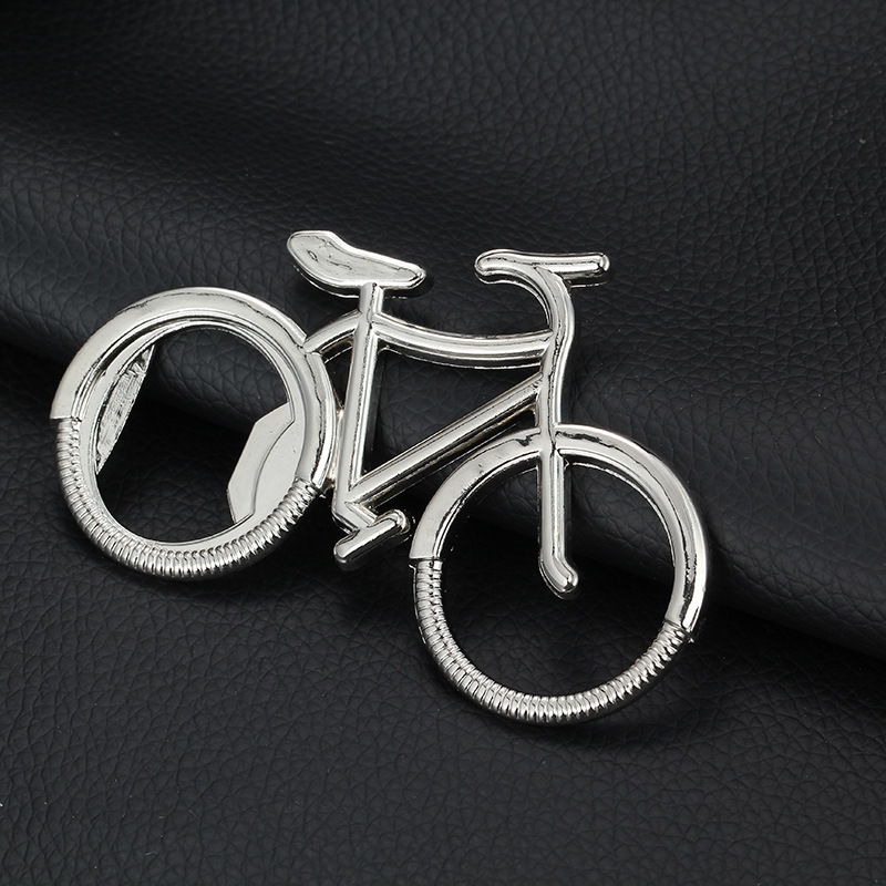 Silver Bicycle Bottle Opener and Keychain Charm for Bar Hopping