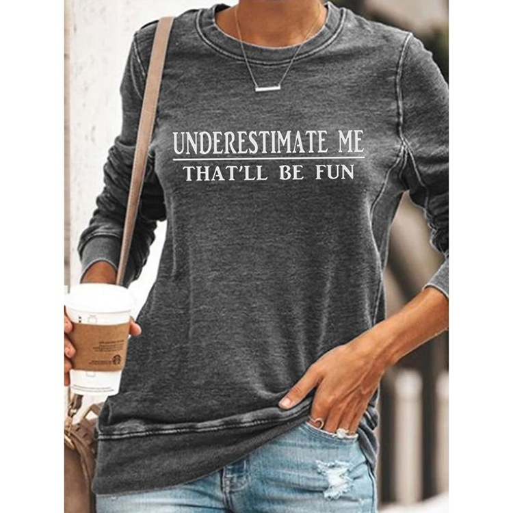 Cotton Statement Round Neck Long Sleeved Top for Daily Clothing