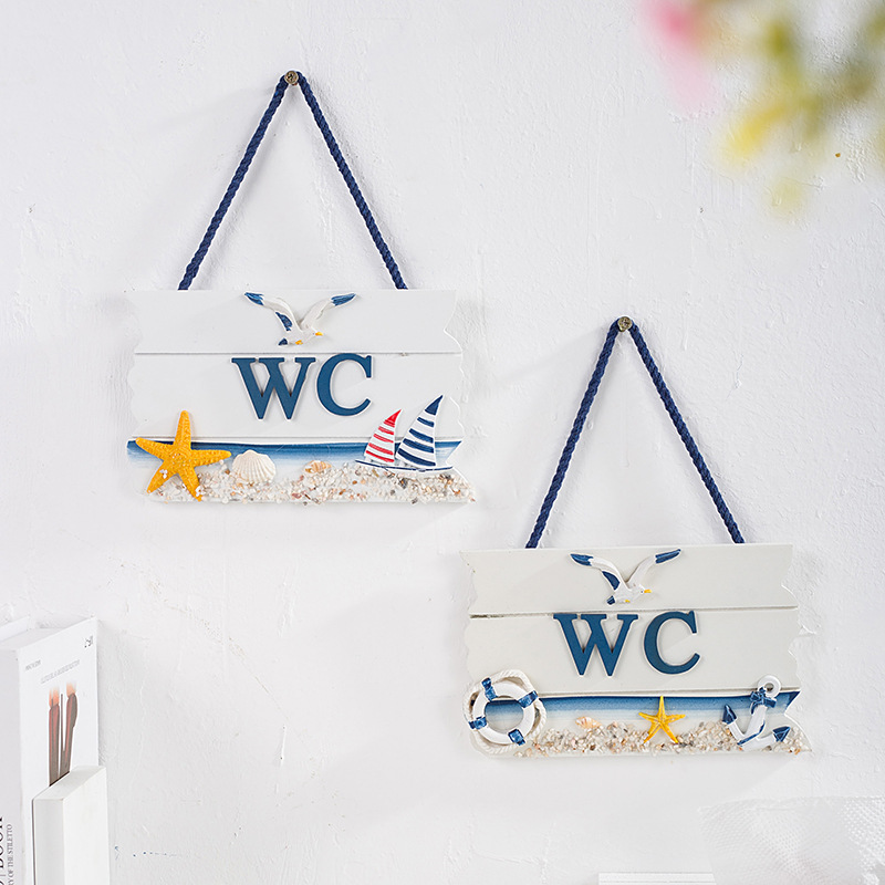 WC Nautical White Toilet Sign for Ocean Inspired Homes