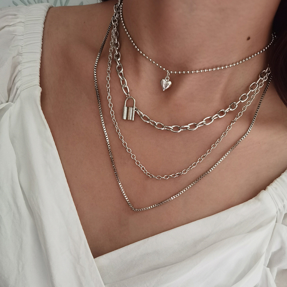 Multi-Layered Love Lock Chain Necklace for Girly Party Accessories