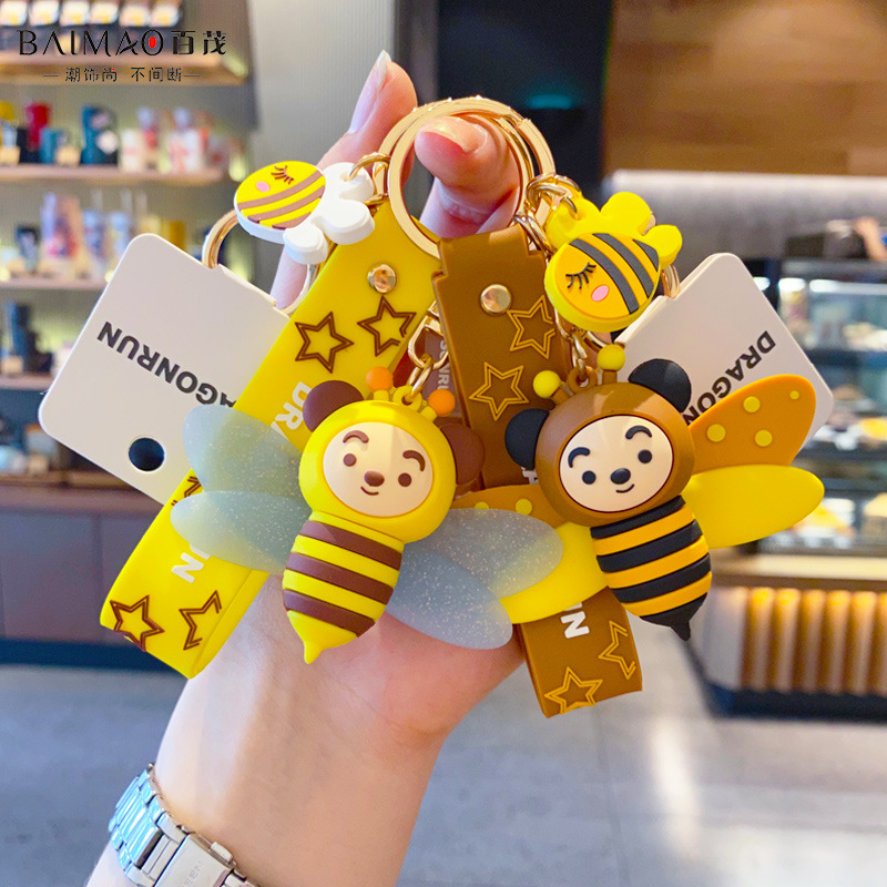 Little Bee-Shaped Polyvinyl Chloride Keychain for School Bag Charms