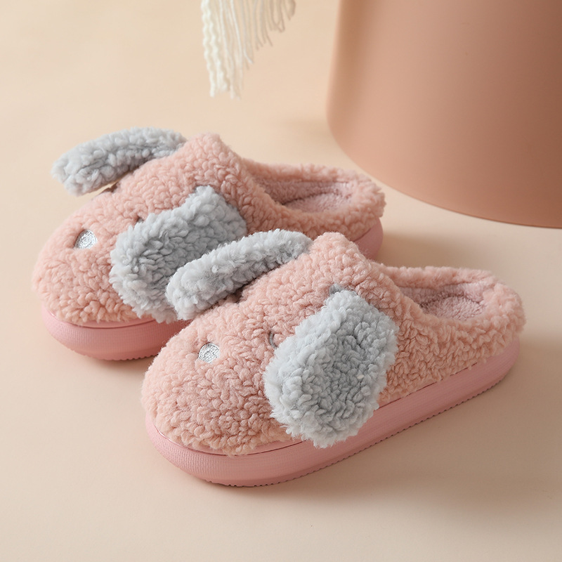 Comfy Waterproof High-Heeled Cotton Slippers for Anti-Slip House Use