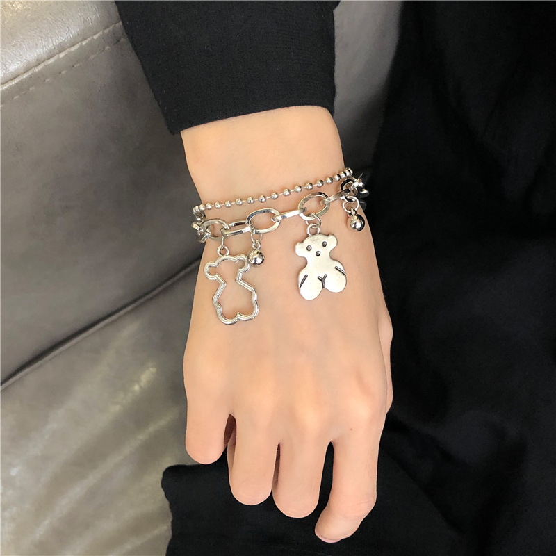 Hollow and Classic Bears Double Chain Bracelet