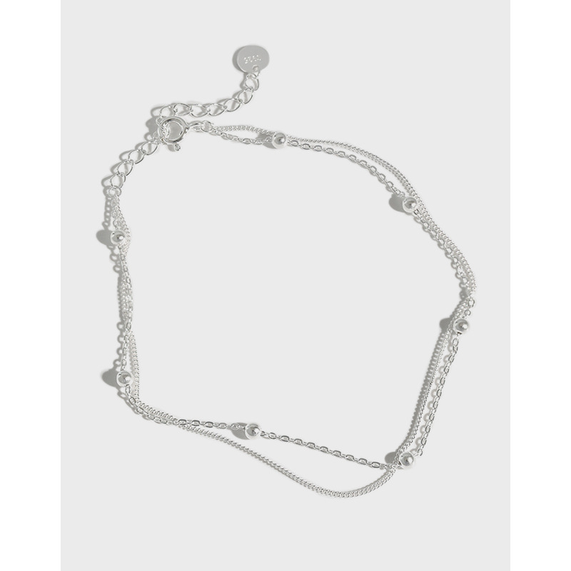 Minimalist S925 Silver Two Layer Chain Anklet for Ragged Jeans
