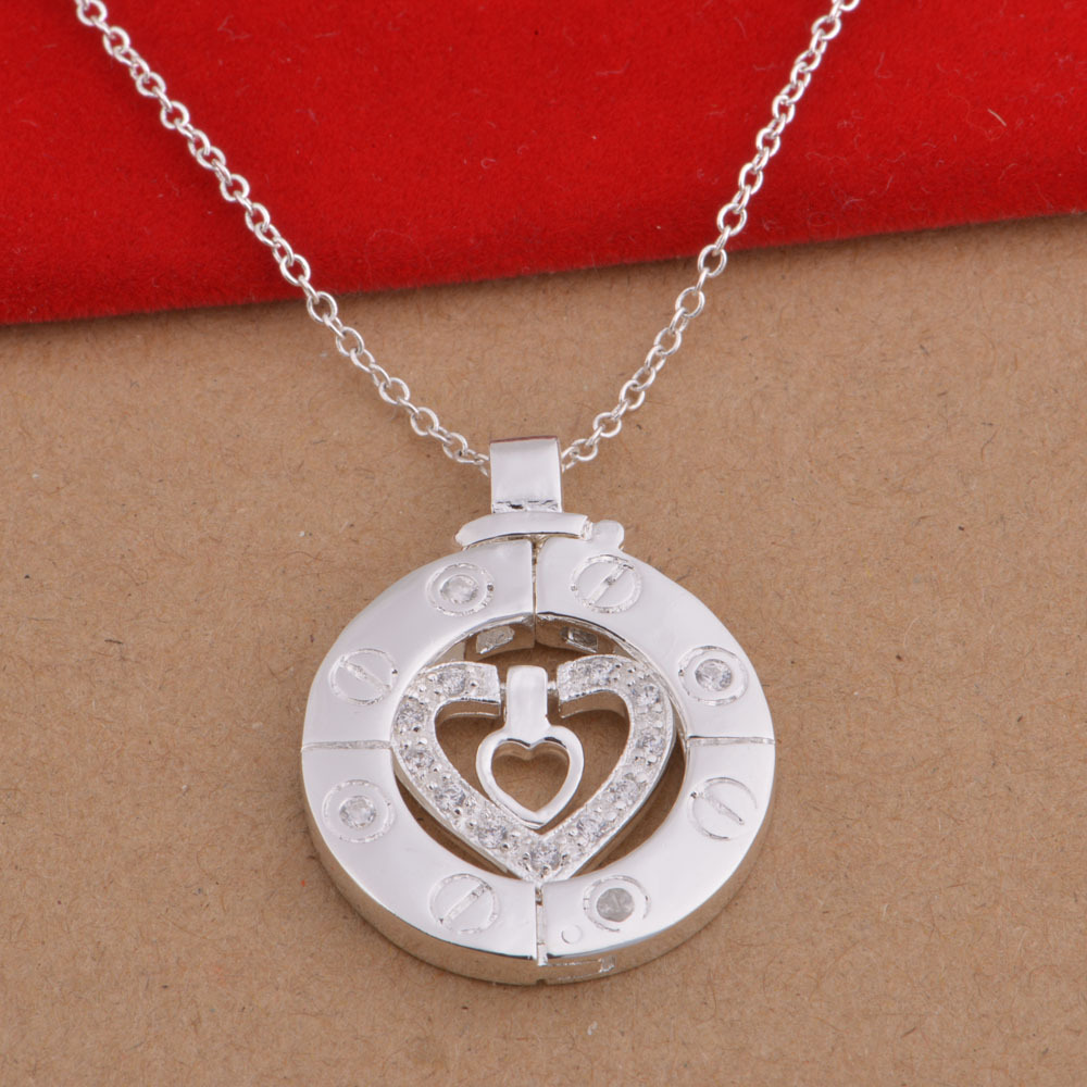 Faux Diamond-Studded Heart Pendant Chain Necklace for Dainty Date Outfits