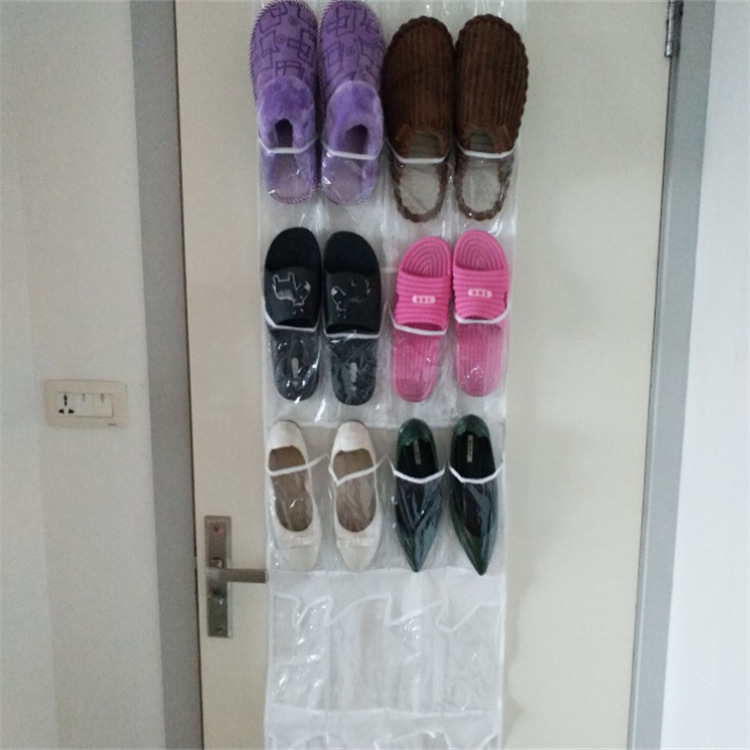 Transparent Wall Mounted Shoe Organizer with Pocket for Home