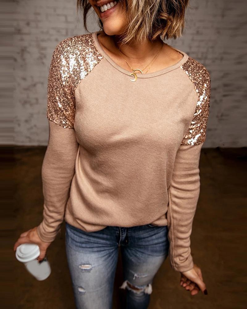 Glam Sequin Stitched Long Sleeve Top for Party Looks