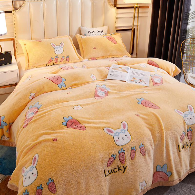 Fluffily Cute Polyester Fiber Blankets for Kids' Bedrooms