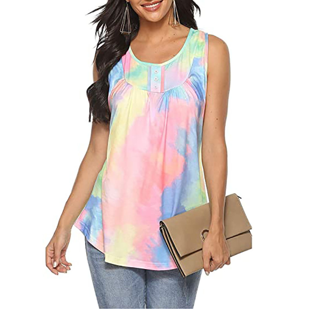 Rumpled Top Printed Sleeveless Tank Top for Everyday Wear