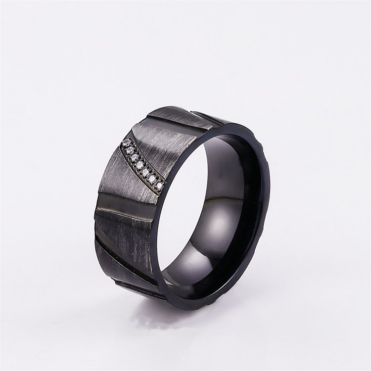 Trendy Retro Abstract Black Ring for Fashionable Jewelry