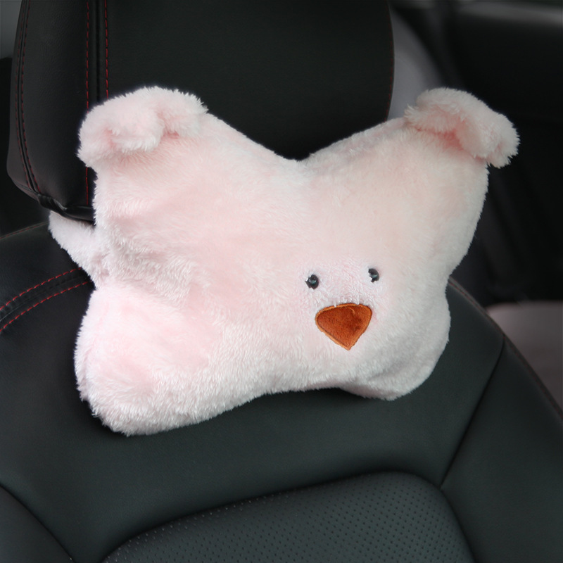 Fluffy Car Seat Pillow with Minimalist Design for Continuous Travel