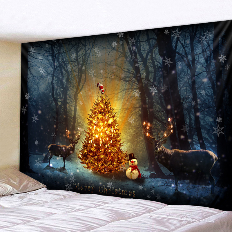 Adorable Christmas in the Forest Tapestry for Outdoor Holiday Party