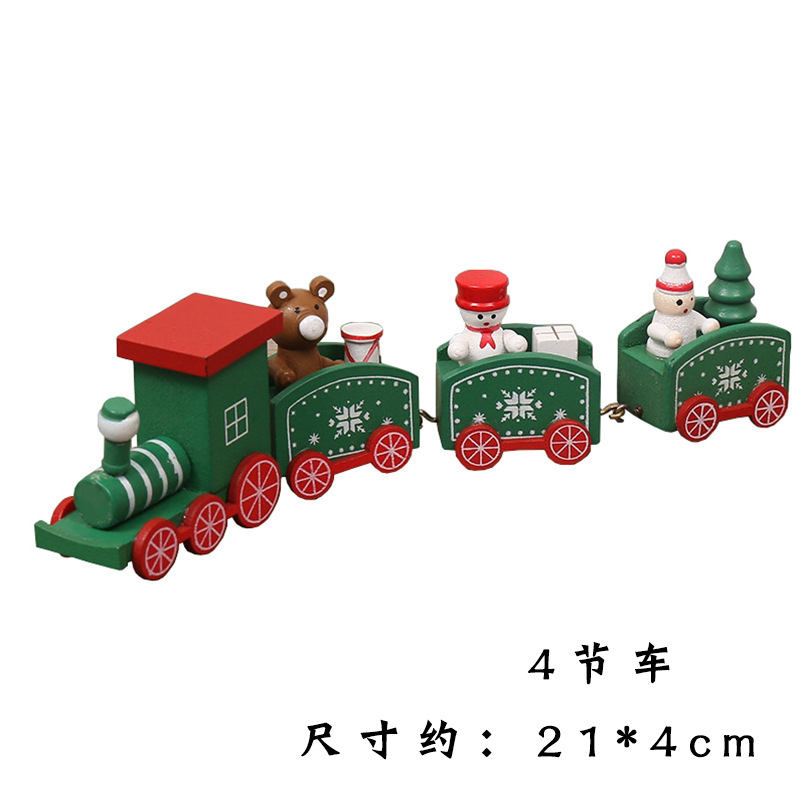 Solid Wood Small Trains for Christmas Decor