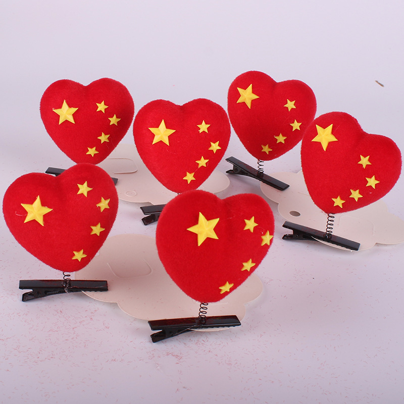 Heart Plush with Stars Alligator Hairclips for Lovely Designs