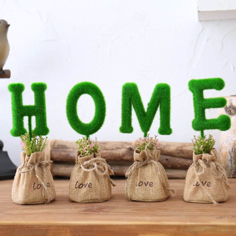 Mini Decorative Garden Bags with Letters and Shapes for Display
