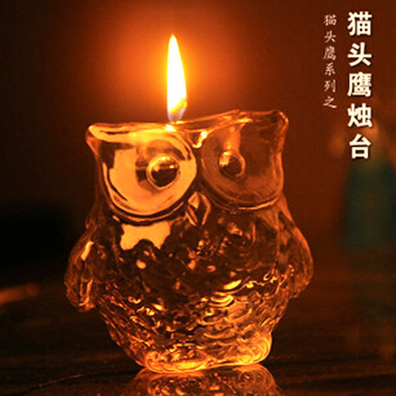 Adorable Owl-Shaped Glass Candle Holder for Aesthetic Home Decoration