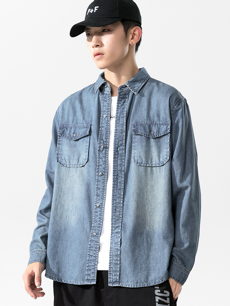 Light Fermented And Bleached Denim Long Sleeve Jacket for Seasonal Outerwear