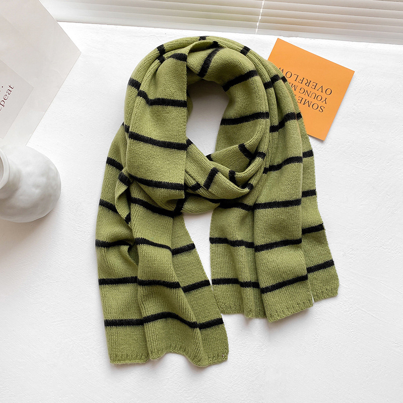 Minimalist Striped Knit Scarf for Cold Weather