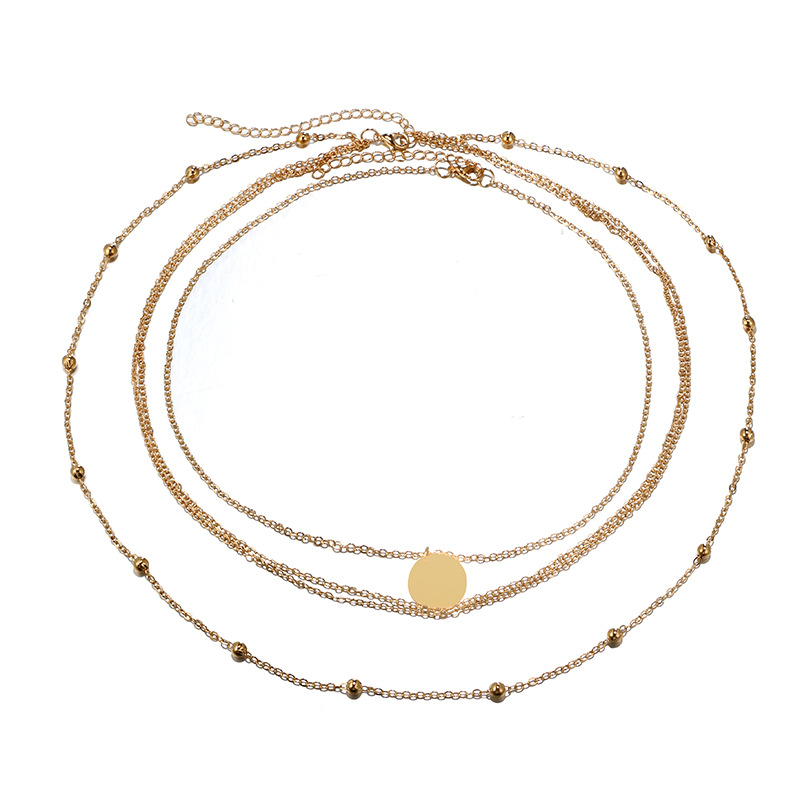 Beads and Circles Four-Layer Chain Necklace