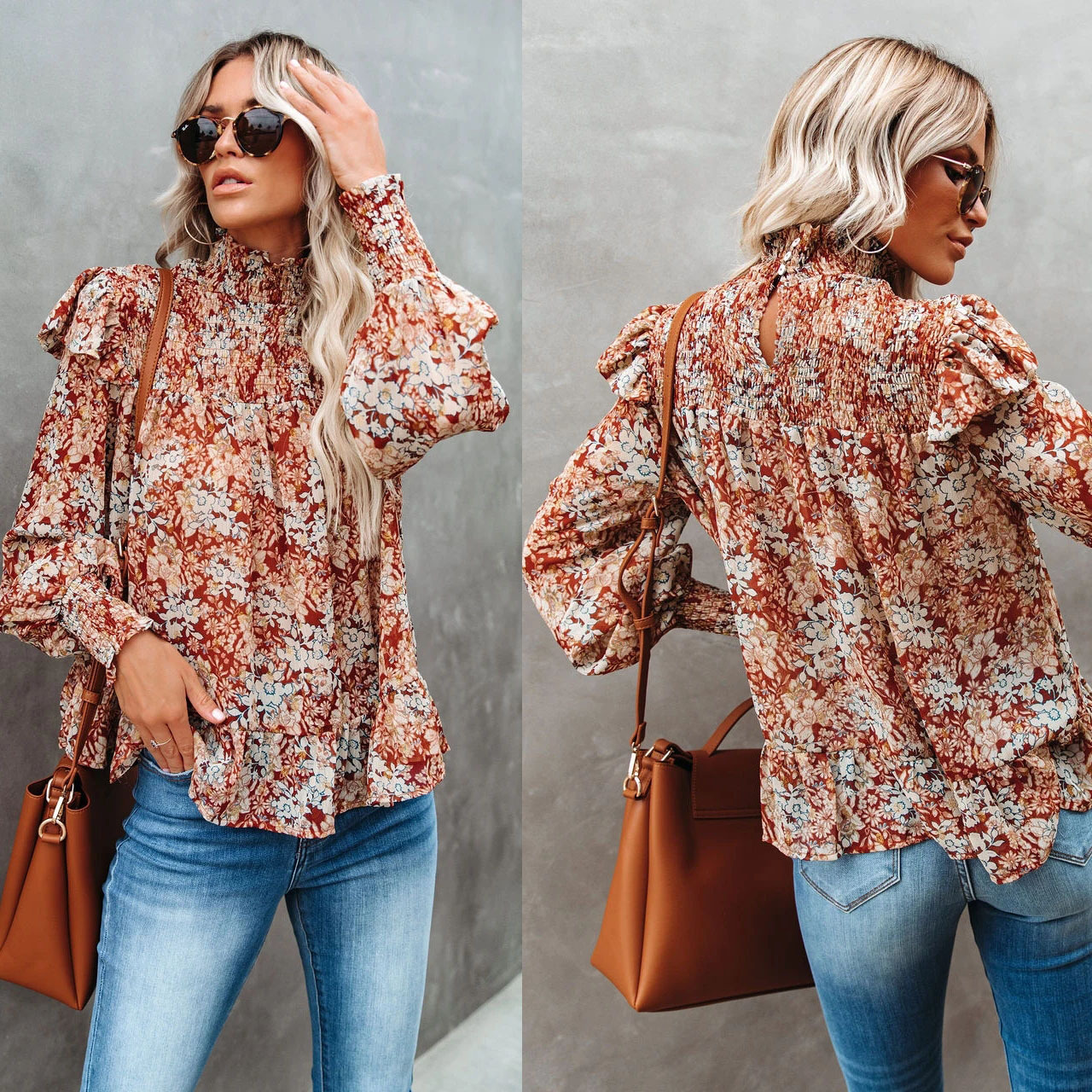 Loose Floral Puff-Sleeve High Neck Back-Cut Long Sleeves Blouse for Spring Time Styles
