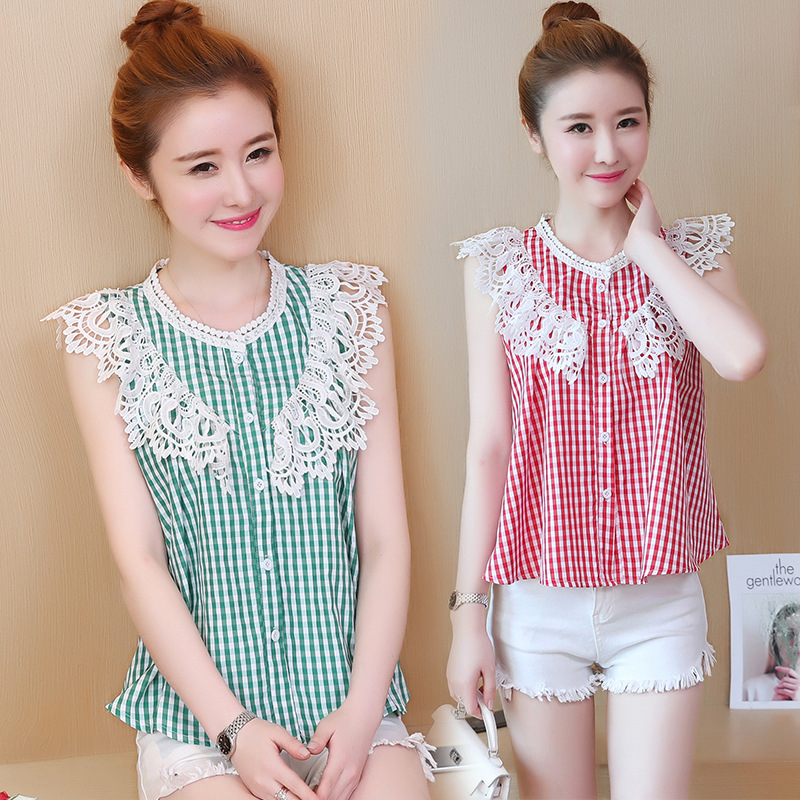Elegant Plaid Thin Lace Sleeveless Top for Casual Parties
