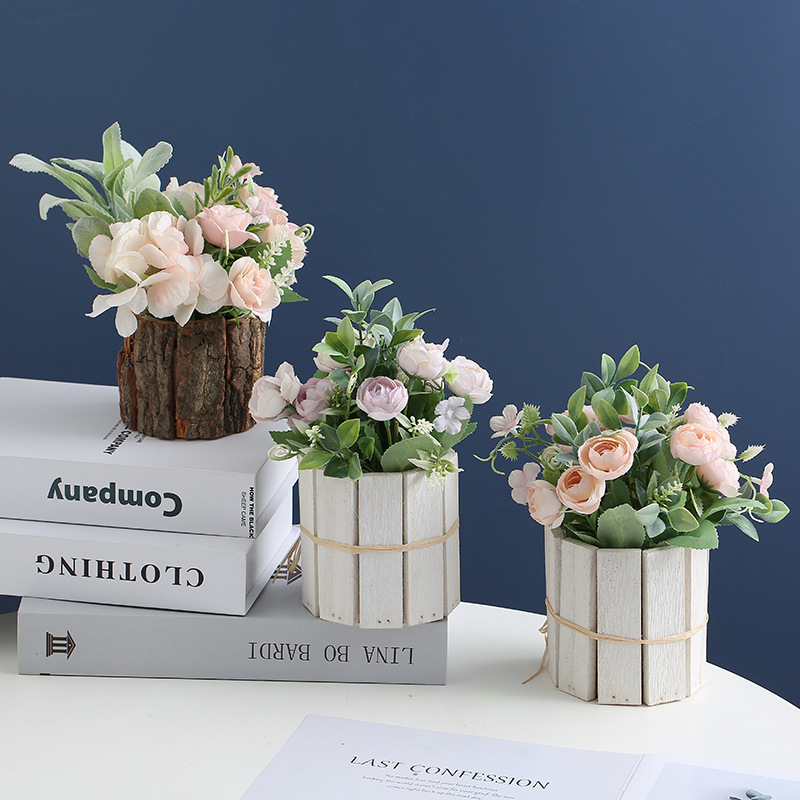 Artificial Roses and Wood Designed Vase for Home Office