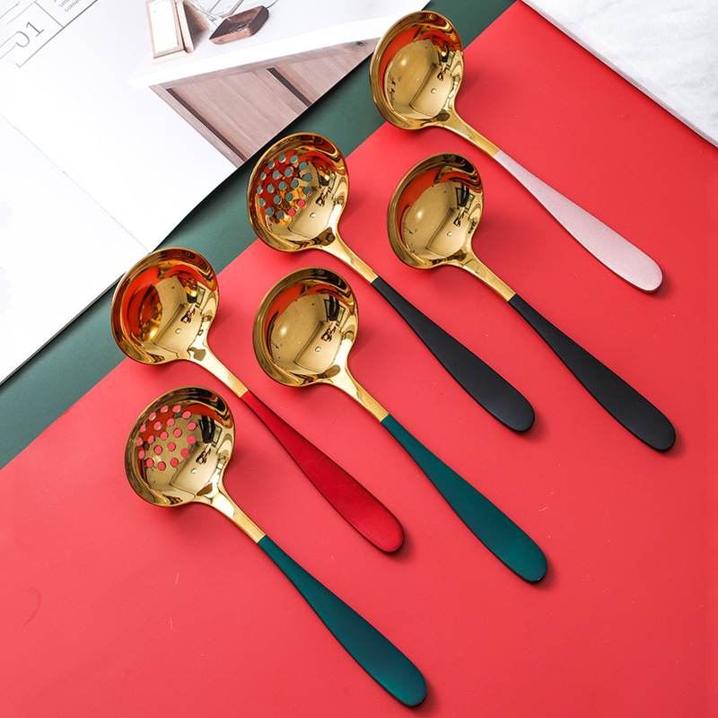 Elegant Soup Spoon and Slotted Spoon Set for Cooking