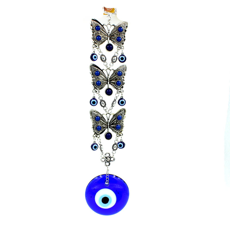 Triple Butterflies and Blue Evil Eye Hanging Wall Décor