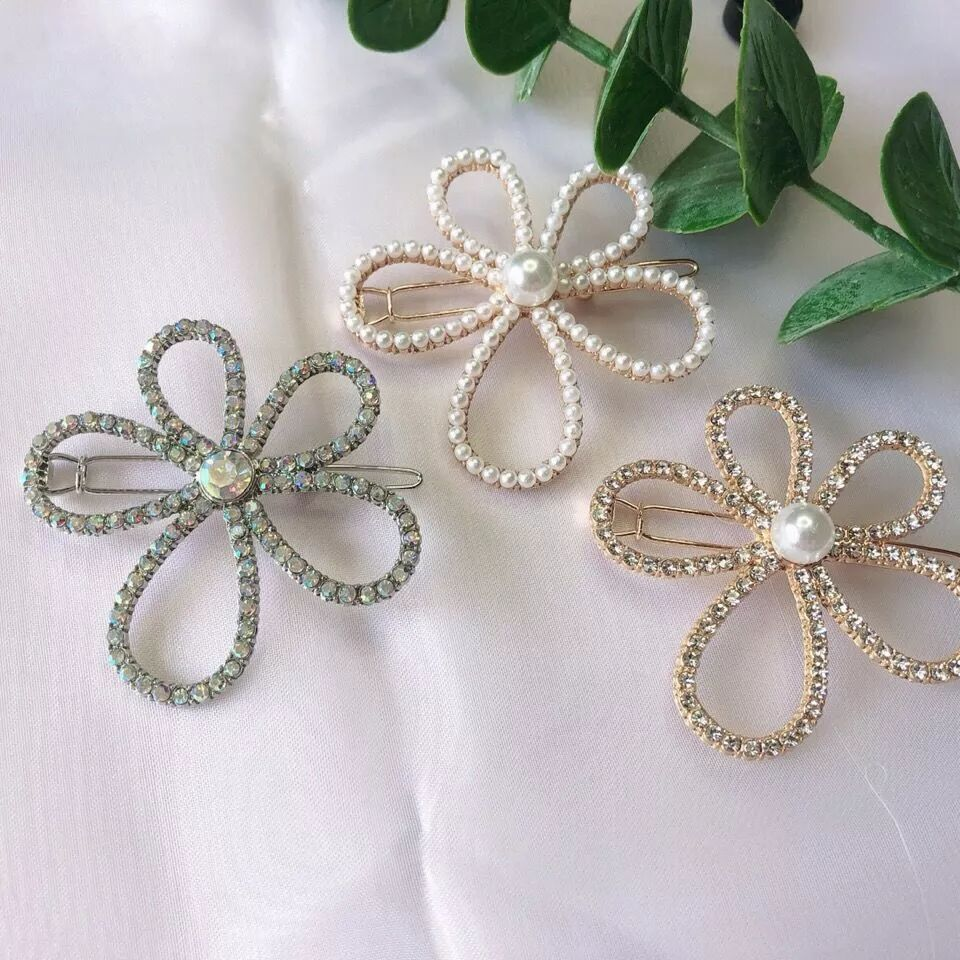 Crystals and Faux Pearls Large Hollow Flower Hair Clip